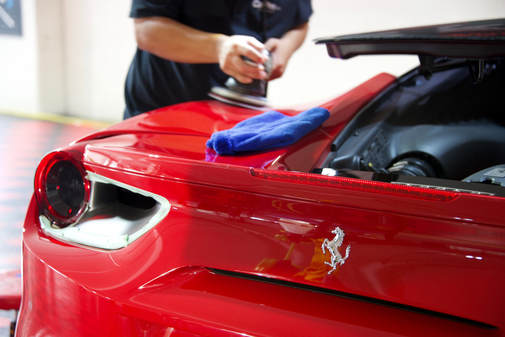 Paint Correction and preparation for Modesta Glass Coating on 488 Rosso Corsa